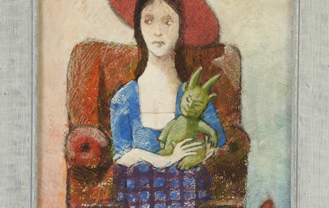 Mädchen mit kleinem Monsterchen <p> <br> (738, Rüdinger)